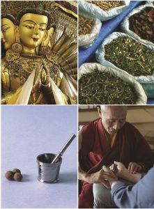Collage aus Buddhastatue, getrocknete Pflanzen in Säcken, Kräuterpillen und tibetischer Mönche, der den Puls bei einer Person fühlt.