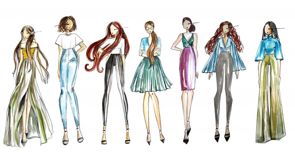Sieben Mode-Illustrationen von verschiedenen Frauentypen mit verschiedener Kleidung und Frisuren.